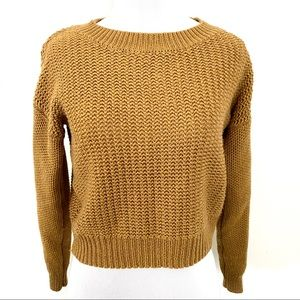 Trendy Olive Knitted Slight Cropped Sweater